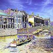 Psychedelic Bruges Canal Scene Poster