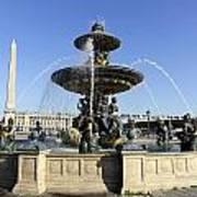 Public Fountain At The Place De La Concorde In Paris France Poster