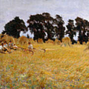Reapers Resting In A Wheat Field Poster