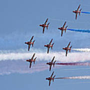 Red Arrows Flying In Formation Poster