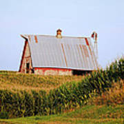 Red Barn Corn Field Poster