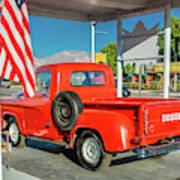Red Dodge Pickup Truck Parked In Front Poster