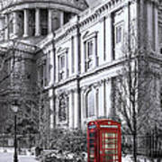 Red Phone Box At St Pauls Cathedral London Poster