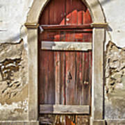 Red Wood Door Of The Medieval Village Of Pombal Poster