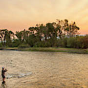 Reid Sabin Fly Fishing At Sunrise Poster