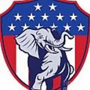 Republican Elephant Mascot Usa Flag Poster