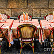 Restaurant Patio In France Poster by Elena Elisseeva