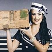 Retro Maritime Portrait. Woman In Sailor Fashion Poster