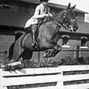 Rider Jumps At Horse Show Poster