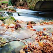 River Flowing Under Stone Bridge Poster