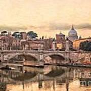 River Tiber In Rome Poster