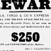 Robbery Reward, 1875 Poster