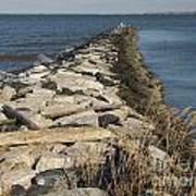 Rock Jetty At Sandy Point Poster