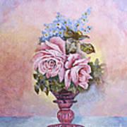 Roses In Ruby Vase Poster