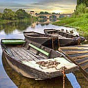 Rowboats On The French Canals Poster by Debra and Dave Vanderlaan