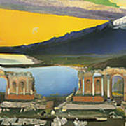 Ruins Of The Greek Theatre At Taormina Poster