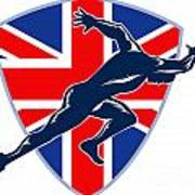 Runner Sprinter Start British Flag Shield Poster