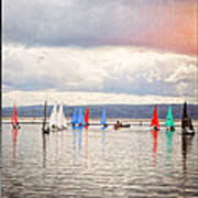 Sailing On Marine Lake A Reflection Poster