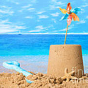 Sandcastle On Beach Poster