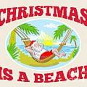 Santa Claus Father Christmas Beach Relaxing Poster by Aloysius Patrimonio