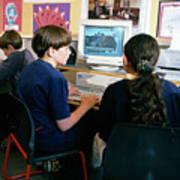 Schoolchildren Working Poster