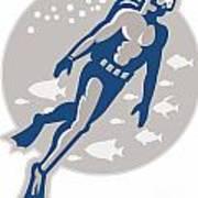 Scuba Diver Diving Retro Poster