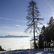 Sea Of Fog Over An Alpine Lake Poster