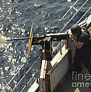 Seaman Fires A .50-caliber Machine Gun Poster
