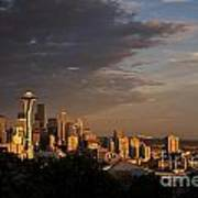 Seattle Skyline With Space Needle And Stormy Weather With Mount  Poster
