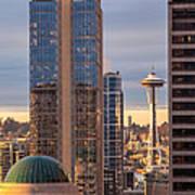 Seattle Space Needle Golden Sunset Light Poster