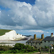 Seven Sisters Cliffs And Coastguard Cottages Poster