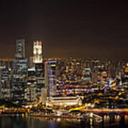 Singapore City Skyline At Night Poster
