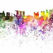 Singapore Skyline In Watercolour On White Background Poster