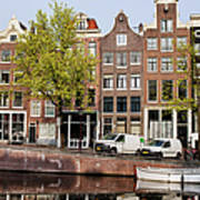 Singel Canal Houses In Amsterdam Poster