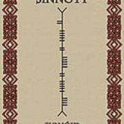 Sinnott Written In Ogham Poster