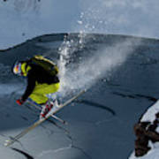 Skier Jumping On A Sunny Day Poster