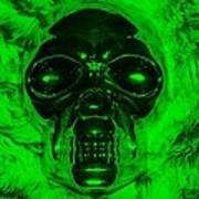 Skull In Green Poster