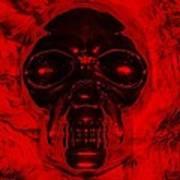 Skull In Red Poster