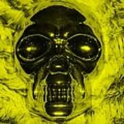 Skull In Yellow Poster