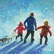 Sledding With Dad Poster