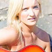 Smiling Female Guitarist Poster