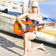 Smiling Girl Strumming Guitar At Tropical Beach Poster