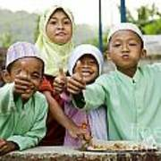 Smiling Muslim Children In Bali Indonesia Poster