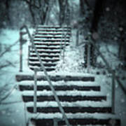 Snowy Stairway Poster