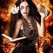 Sorcerer Casting Black Magic Spells Of Fire Poster