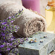 Spa With Lavender And Towel Poster