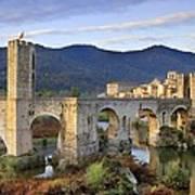 Spain. Besal�. Romanesque Bridge Poster