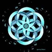 Spirit Of Water 1 - Blue With Water Drops Poster