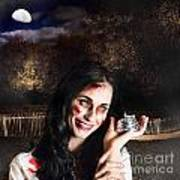 Spooky Girl With Silver Service Bell In Graveyard Poster