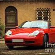 Sport Car In The Old Town Scenery Poster